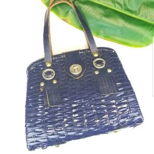 Vtg Navy Blue WICKER HANDBAG SIMON MISTER ERNEST